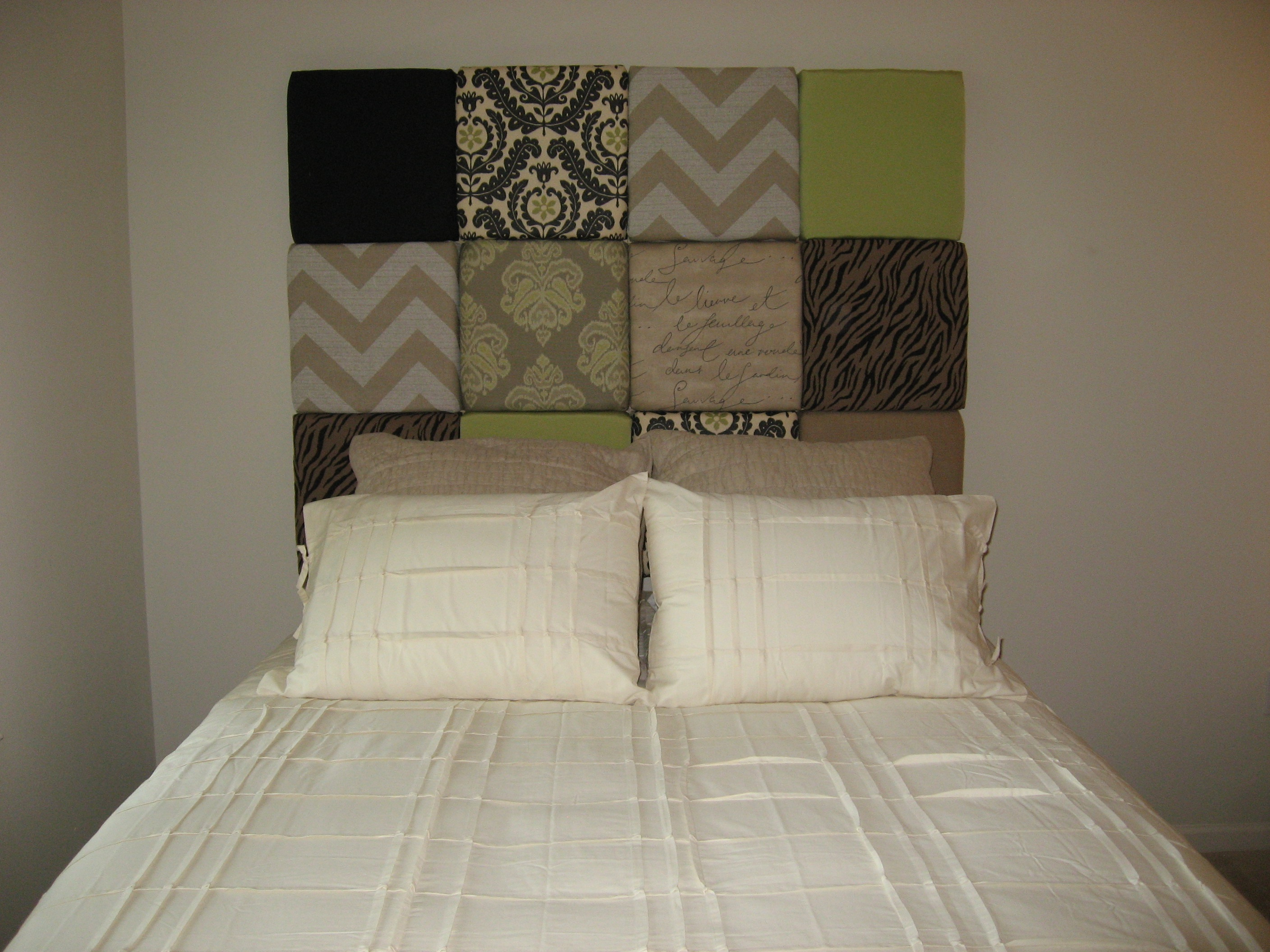 Cover Headboard With Fabric Multi Fabric Paneled Headboard In Touch Finishing Touches